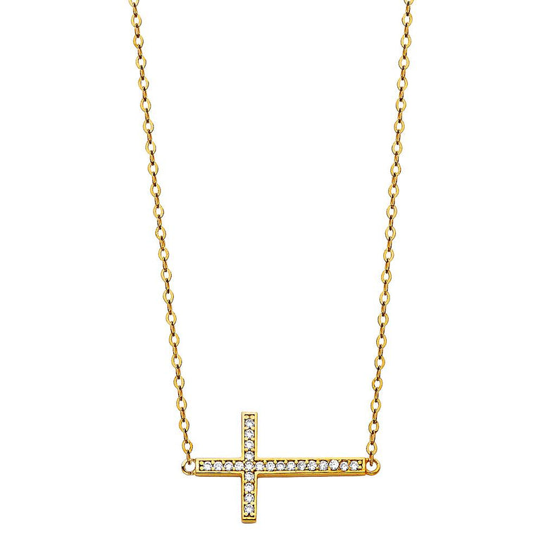 14KY CZ SIDE WAY CROSS NECKLACE NK-0202 Womens Necklace