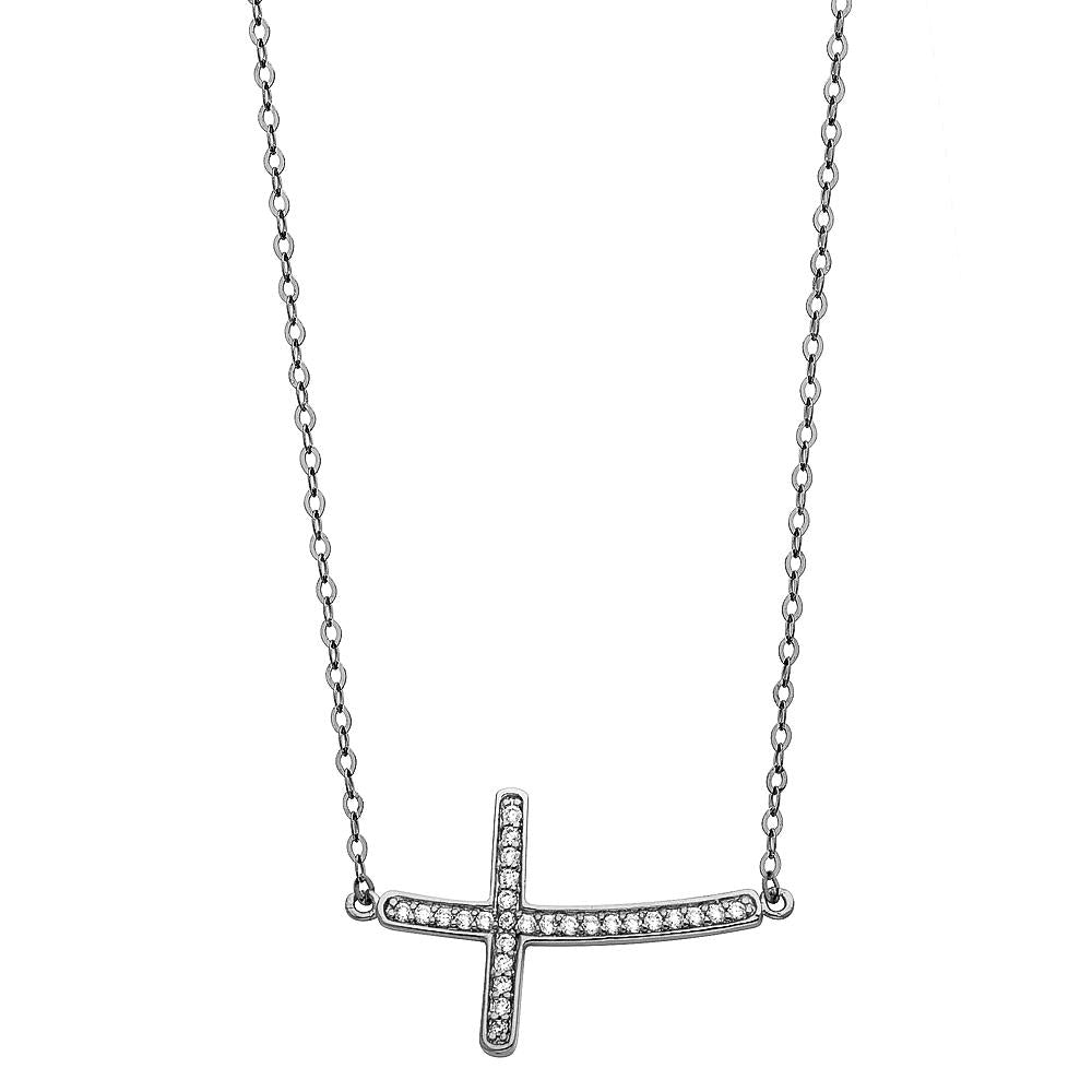 14KW CZ SIDE WAY CROSS NECKLACE NK-0205 Womens Necklace