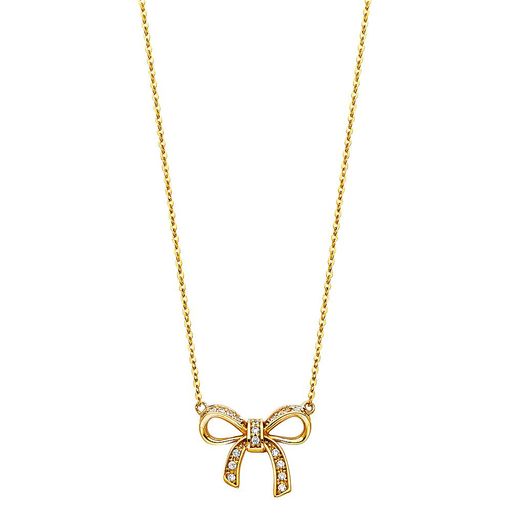 14KY CZ RIBBON NECKLACE NK-0213 Womens Necklace