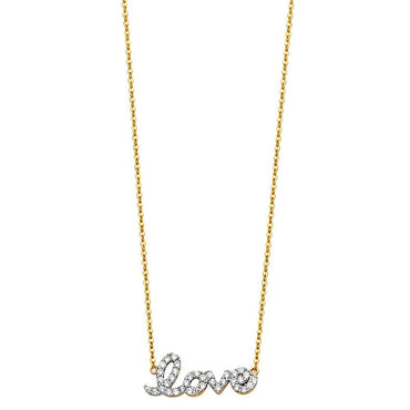 14KY CZ LOVE SIGN NECKLACE NK-0216 Womens Necklace
