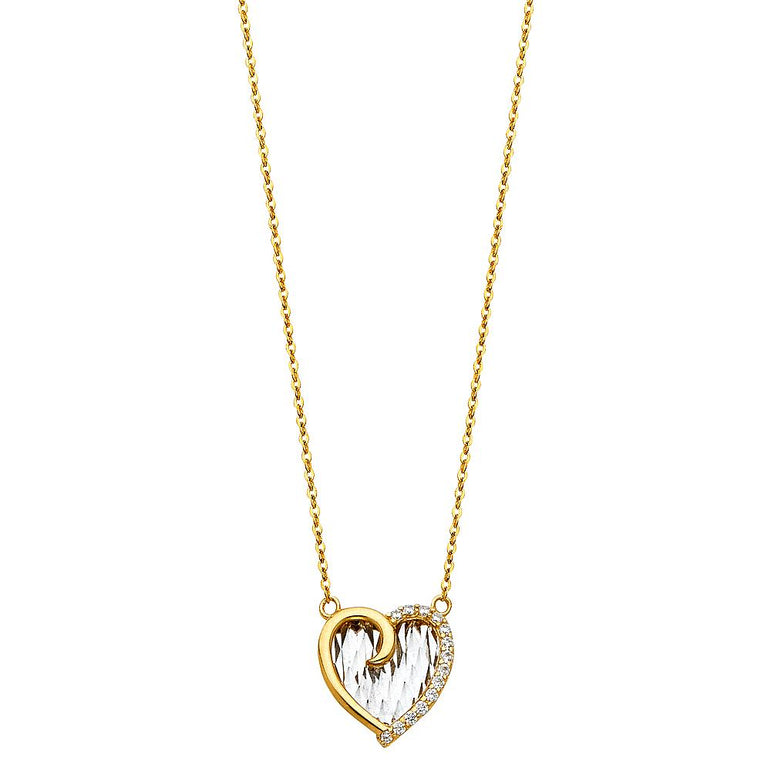 14K 2T CZ HEART NECKLACE NK-0218 Womens Necklace