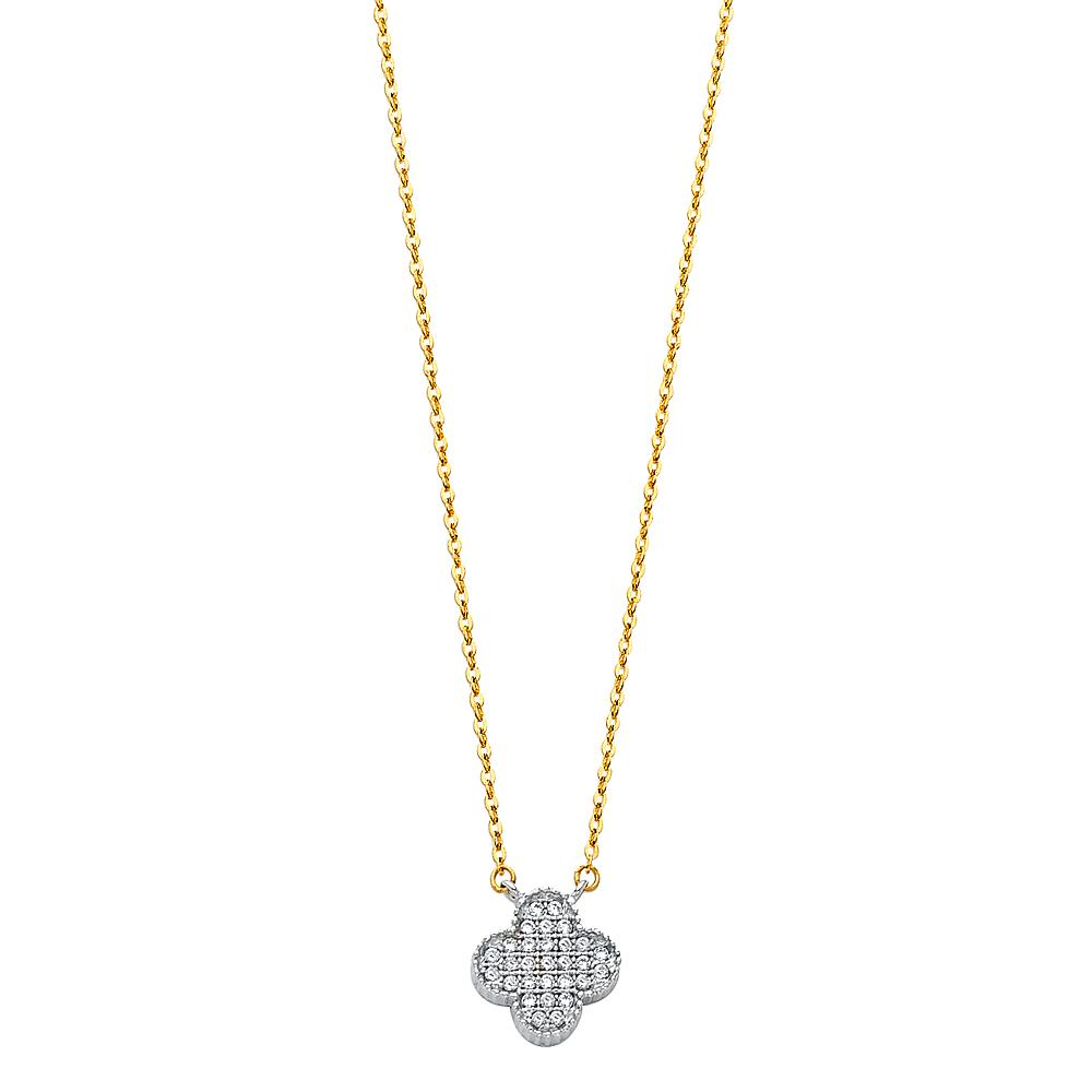 14K CZ CLOVE NECKLACE NK-0222 Womens Necklace
