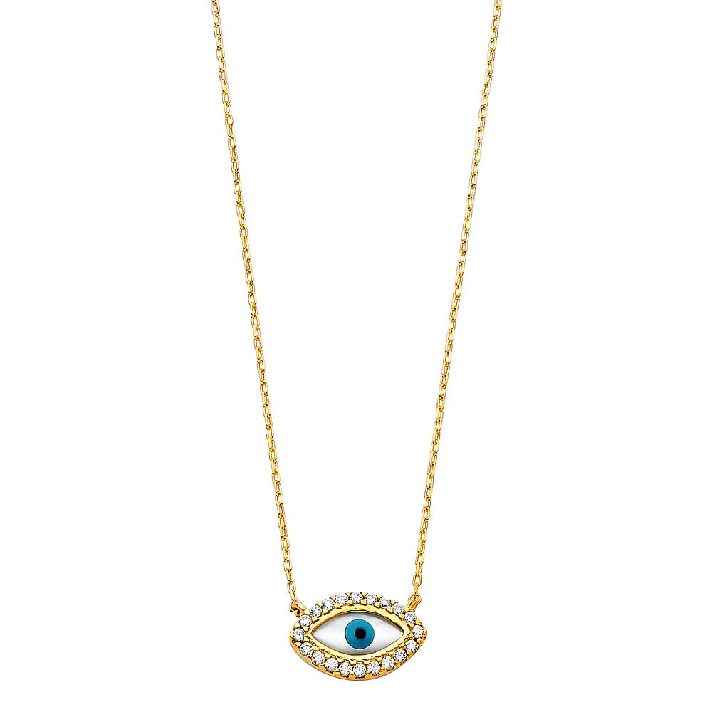 14KY CZ EVIL EYE NECKLACE NK-0228 Womens Necklace
