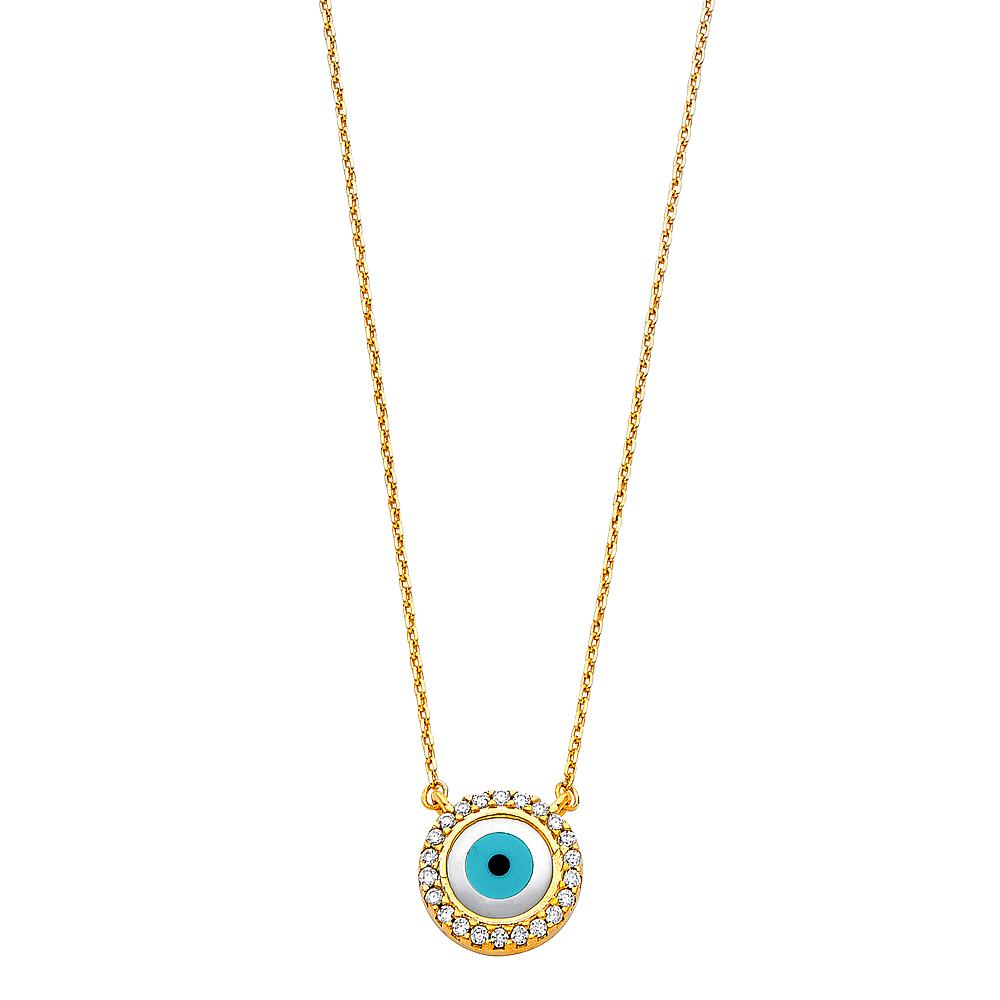 14KY CZ EVIL EYE NECKLACE NK-0229 Womens Necklace