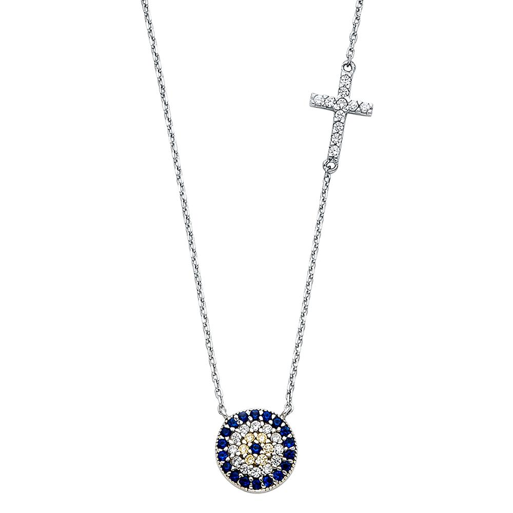 14KW CZ EVIL EYE & CROSS NECKLACE NK-0231 Womens Necklace
