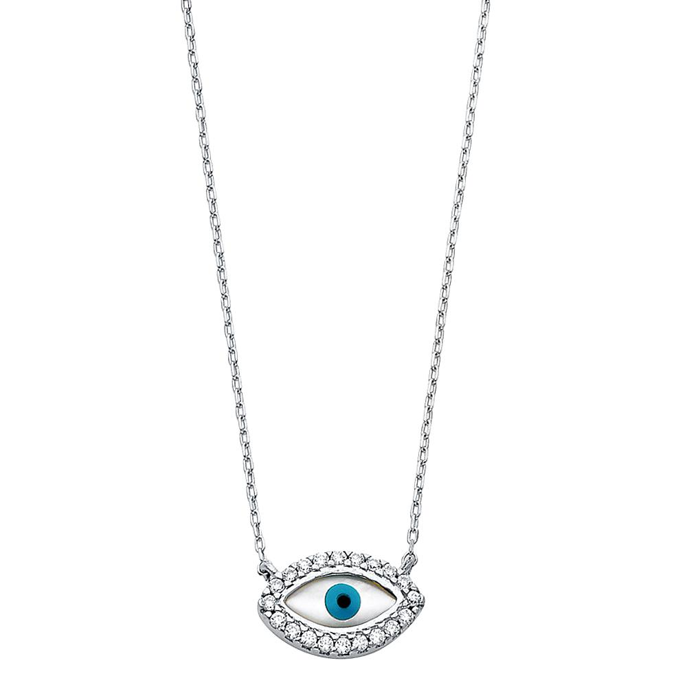 14KW CZ EVIL EYE NECKLACE NK-0233 Womens Necklace