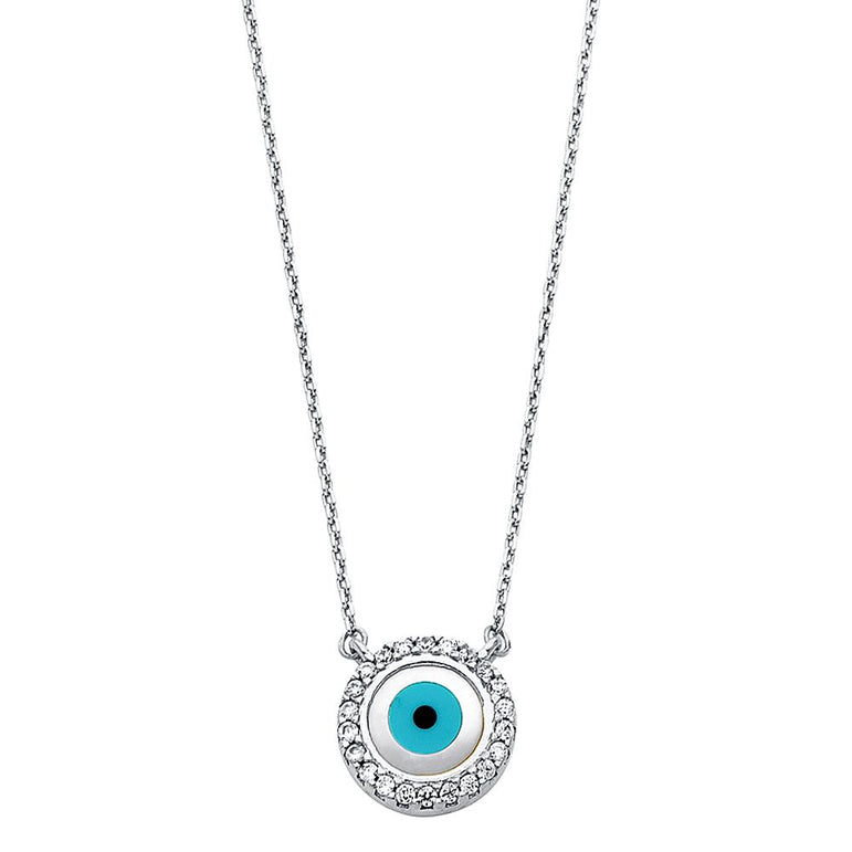 14KW CZ EVIL EYE NECKLACE NK-0234 Womens Necklace