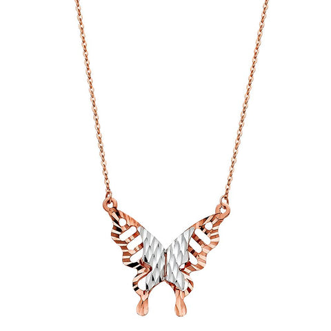 14K PINK BUTTER FLY NECKLACE NK-0242 Womens Necklace