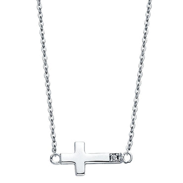 14KW CZ SIDE WAY CROSS NECKLACE NK-0244 Womens Necklace