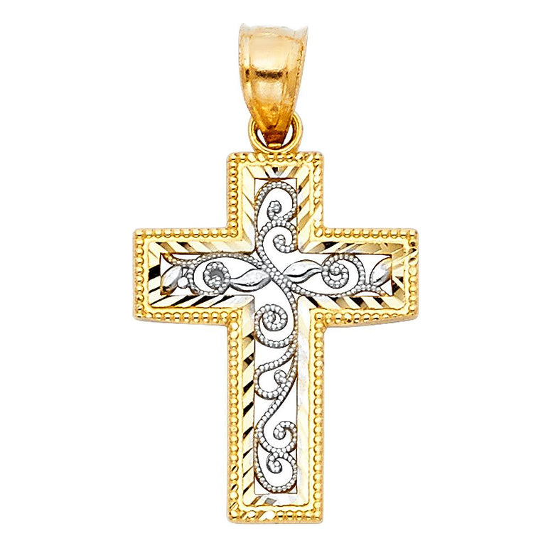 14K 2T FANCY DESIGN CROSS PENDANT CROSS PENDANTPT-0117