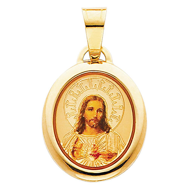 14KY SACRED HEART OF JESUS PIC PENDCROSS PENDANT PT-0174