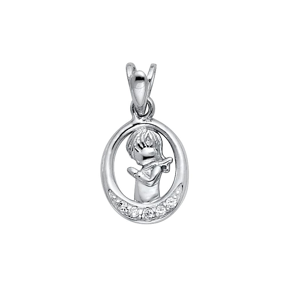 14KW CZ GIRL PRAYING PENDANT CROSS PENDANTPT-0259