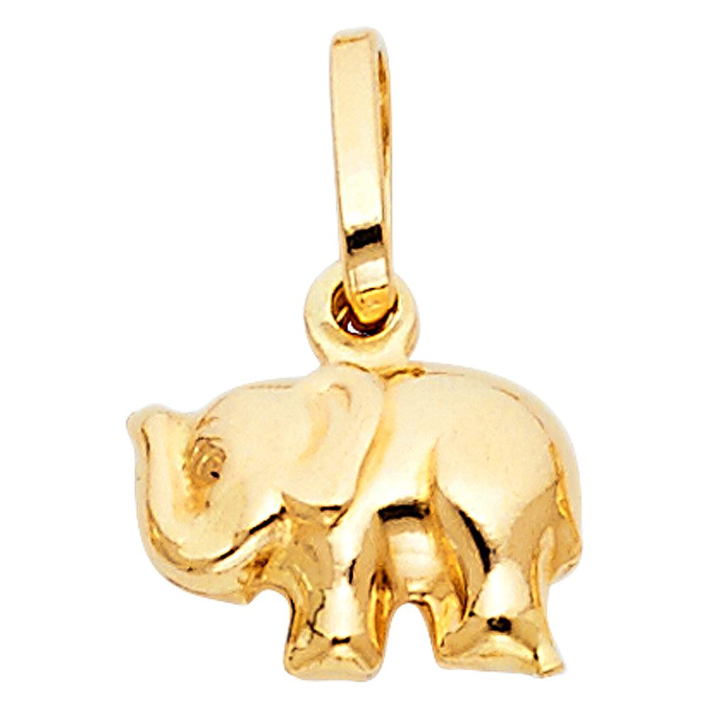 14KY HOLLOW ELEPHANT PENDANT (PT492) PT-0492