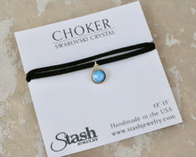 Load image into Gallery viewer, Petite Suede Choker - Aruba Blue