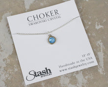 Load image into Gallery viewer, Petite Chain choker - Swarovski Aruba Blue