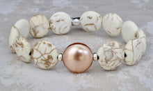 Load image into Gallery viewer, Magnesite and Swarovski Pearl Bracelet