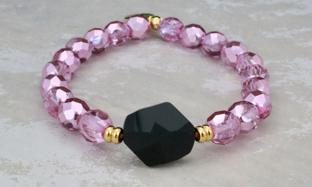 Swarovski Crystal and Metallic Pink Bracelet