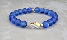Load image into Gallery viewer, Swarovski Crystal and Mermaid Glass Bracelet - Cobalt