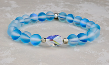 Load image into Gallery viewer, Swarovski Crystal and Mermaid Glass Bracelet - Aqua