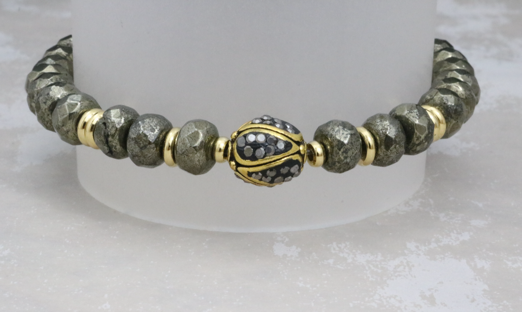 Pave Crystal Bead on Pyrite - Stash Jewelry Exclusive