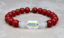 Load image into Gallery viewer, The Adrian - Swarovski Crystal and Red Riverstone Bracelet