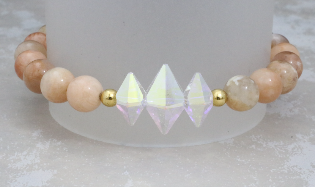 The Lucy - Swarovski Crystal and Sunstone Bracelet