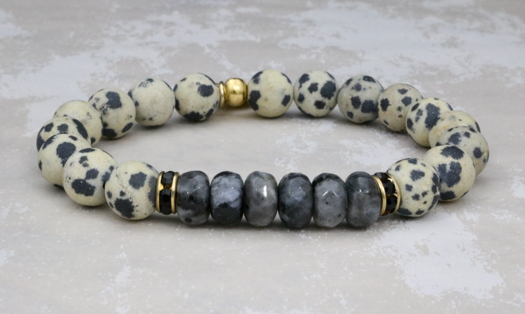 Dalmatian Jasper with Black Labradorite and Swarovski Crystals