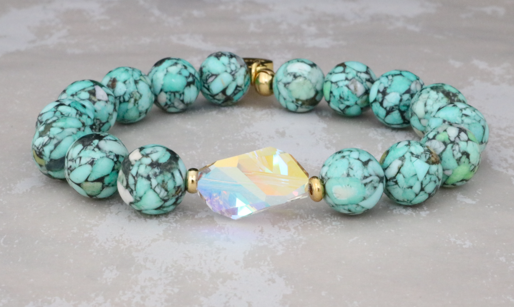 The Bethaney - Swarovski Crystal and Mosaic Turquoise Bracelet