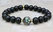 Load image into Gallery viewer, Abalone Shell Bead and Onyx Bracelet