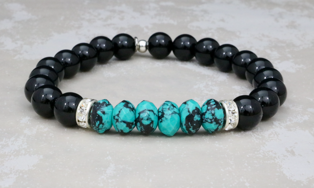 Onyx and Turquoise Bracelet with Swarovski Crystals