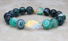 Load image into Gallery viewer, The Bethaney - Swarovski Crystal and Green Stripe Agate