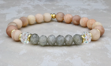 Load image into Gallery viewer, Matte Sunstone with Labradorite and Swarovski Crystals