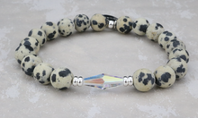 Load image into Gallery viewer, Dalmatian Jasper and Swarovski Crystal Bracelet