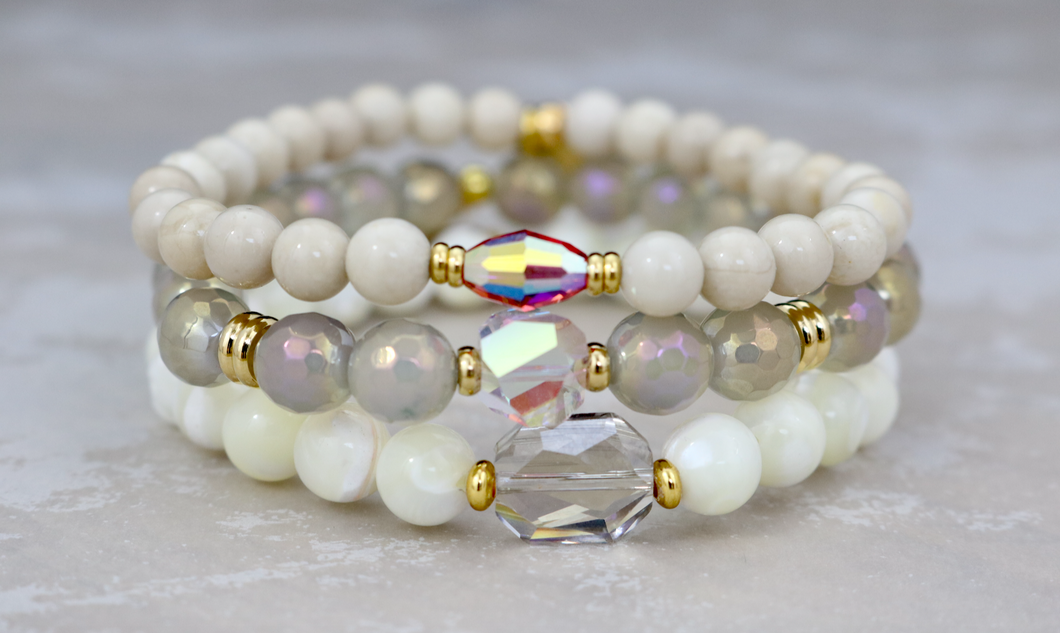 Pearl, Agate and Riverstone Bracelet Set
