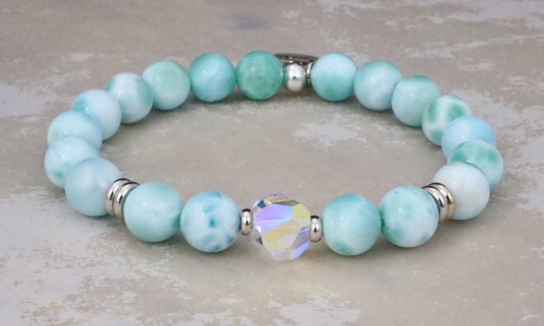 The Stella - Swarovski Crystal and Larimar Bracelet
