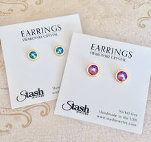 Load image into Gallery viewer, Swarovski Crystal Studs - Fuchsia Shimmer