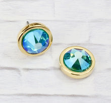 Load image into Gallery viewer, Swarovski Crystal Studs - Blue Zircon
