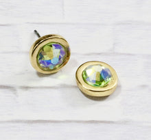 Load image into Gallery viewer, Petite Swarovski Crystal Studs - Peridot Shimmer