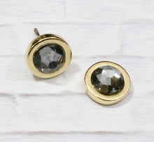 Load image into Gallery viewer, Petite Swarovski Crystal Studs - Black Diamond