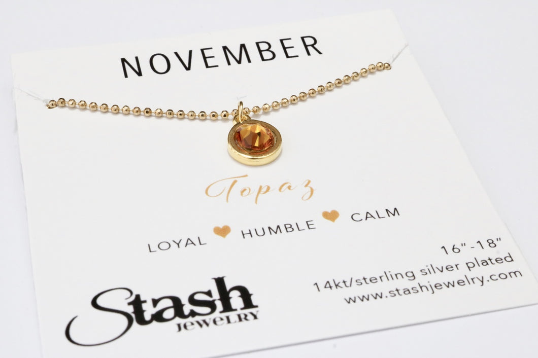 November Birthstone Necklace - Topaz