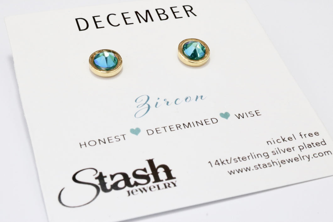 December Birthstone Studs - Zircon