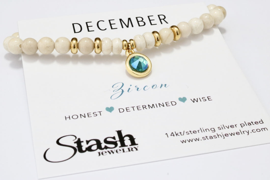December Birthstone Bracelet - Zircon