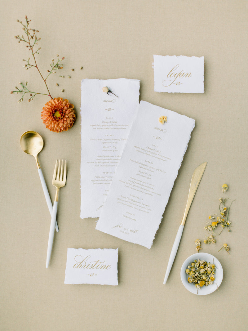 Handmade Paper Menus and Place Cards