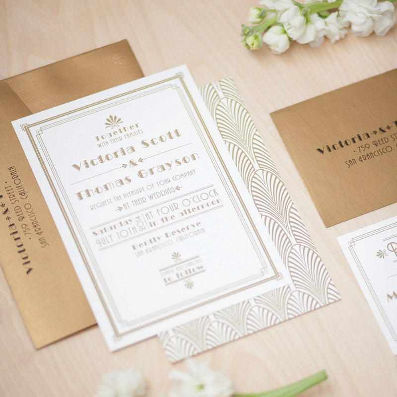 Victoria // Art Deco Wedding Invitation