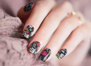 Funky Comic Book Anime Nail Wraps