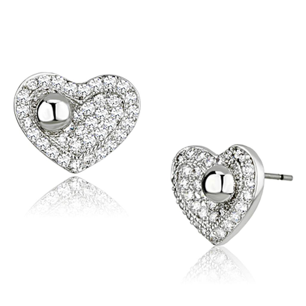 Shinning Open Heart Brass Earrings with AAA Cubic Zirconia Stones