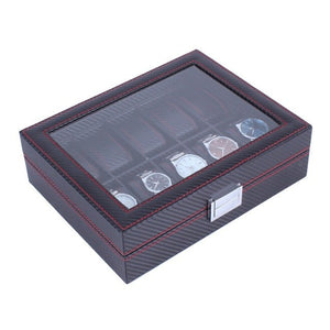 Black with Red Accents: Carbon Fibre Pattern 10 Grid Watch Box