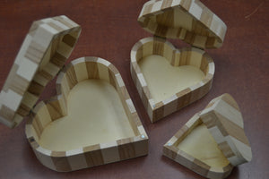 Hand Carved Set of 3 Wood Heart Trinket Boxes