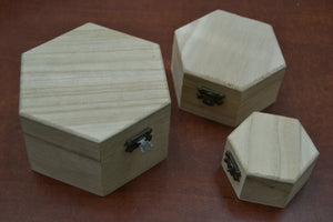 Light Wood Handmade Set of 3 Trinket Boxes