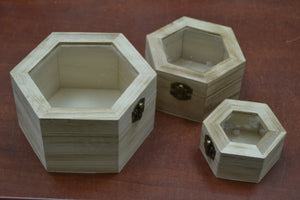 Set of 3 Small Handmade Wood Trinket Boxes with Clear Lids